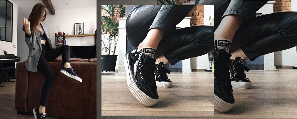 British Knights black MASTER PLATFORM Patent Sneakers